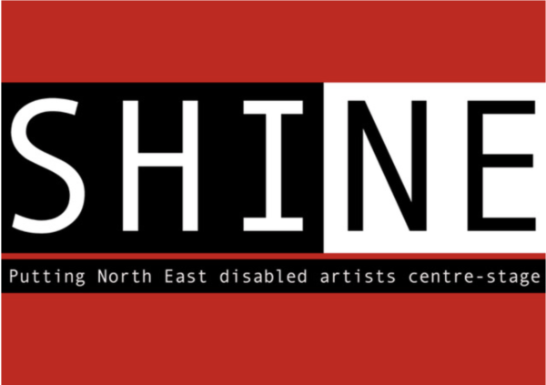 Image Description: This is the shine logo which consists of the word SHINE in capitals, it is black and white text on a red background. The word shine is split into two sections - the first three letters (SHI) are white on a black background, and these colours are reversed for the final two letters (NE). The tagline underneath reads 'Putting North East Disabled Artists Centre-Stage' in white font on a black background.