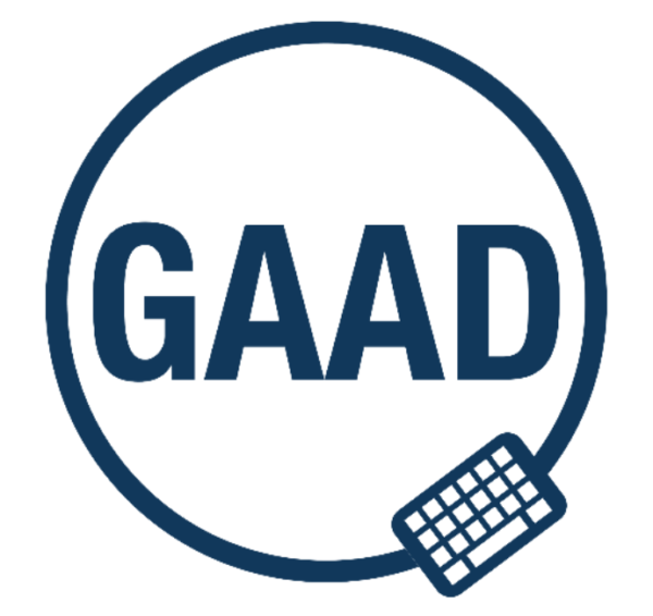 The GAAD logo, which is the word GAAD in navy blue font, enclosed in a circle with a small keyboard graphic, which sits at a roughly 5 o'clock position on the circle.
